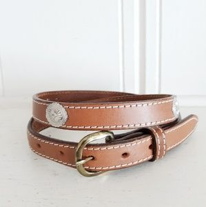 Vintage Brown Leather Concho Skinny Belt Size 30/M
